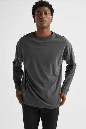 Richer Poorer Unisex Relaxed Long Sleeve Pullover Tee gray stretch limo | Pipe and Row