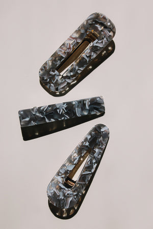 Resin teardrop cut out hair clip barrette grey tortoise | PIPE AND ROW