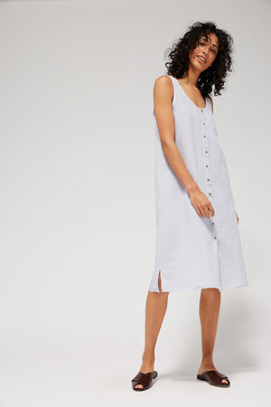 Lacausa Reversible Linen dress button up summer midi baja light blue | Pipe and Row