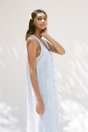 Lacausa Reversible Linen dress button up summer midi baja blue | Pipe and Row