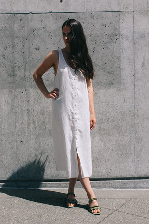 Lacausa Reversible Linen dress button up summer midi moon ivory | Pipe and Row
