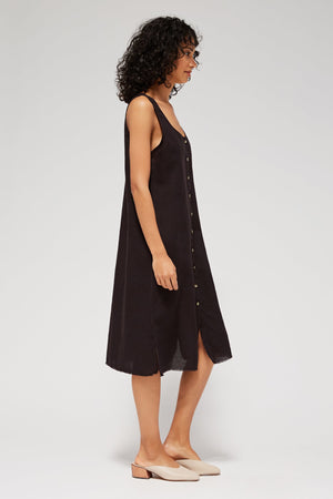 Lacausa Reversible Linen dress button up summer midi tar black | Pipe and Row