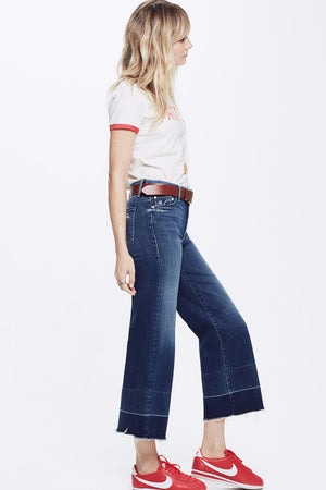 MOTHER DENIM ROLLER undone CROP FRAYED JEANS | PIPE AND ROW