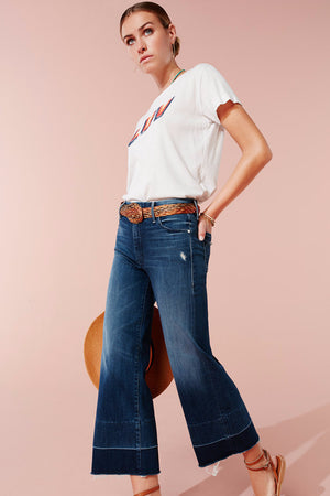 MOTHER DENIM ROLLER CROP FRAYED JEANS | PIPE AND ROW SEATTLE