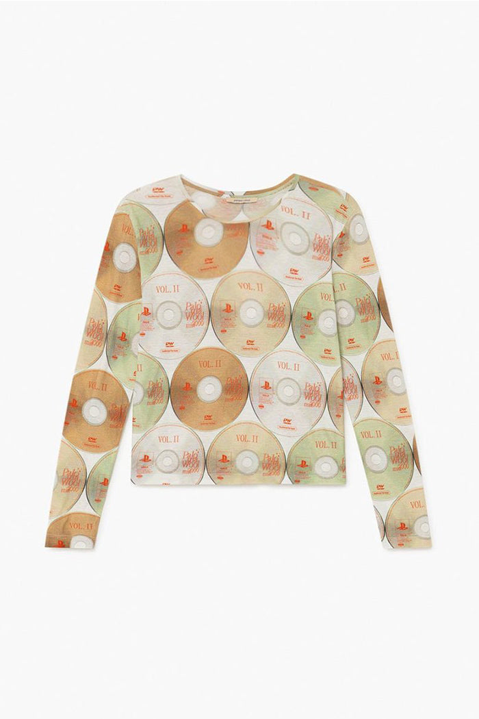 Paloma Wool Rory long sleeved fitted ecru cd print top | Pipe and Row