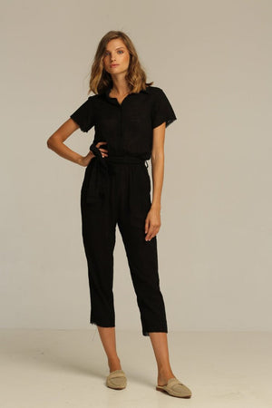 Rue Stiic Hilton Jumpsuit linen black | PIPE AND ROW boutique seattle