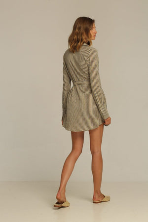Rue Stiic Joaquin Wrap long sleeve Dress linen new sand stripe jacket | Pipe and Row