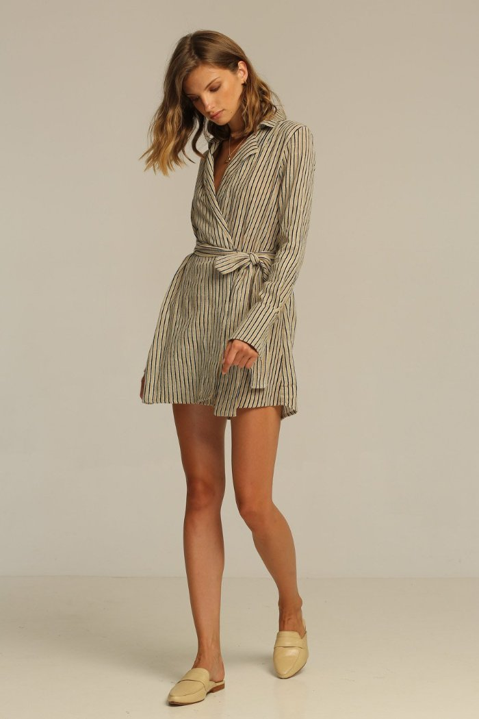Rue Stiic Joaquin Wrap Dress linen new sand stripe jacket | Pipe and Row