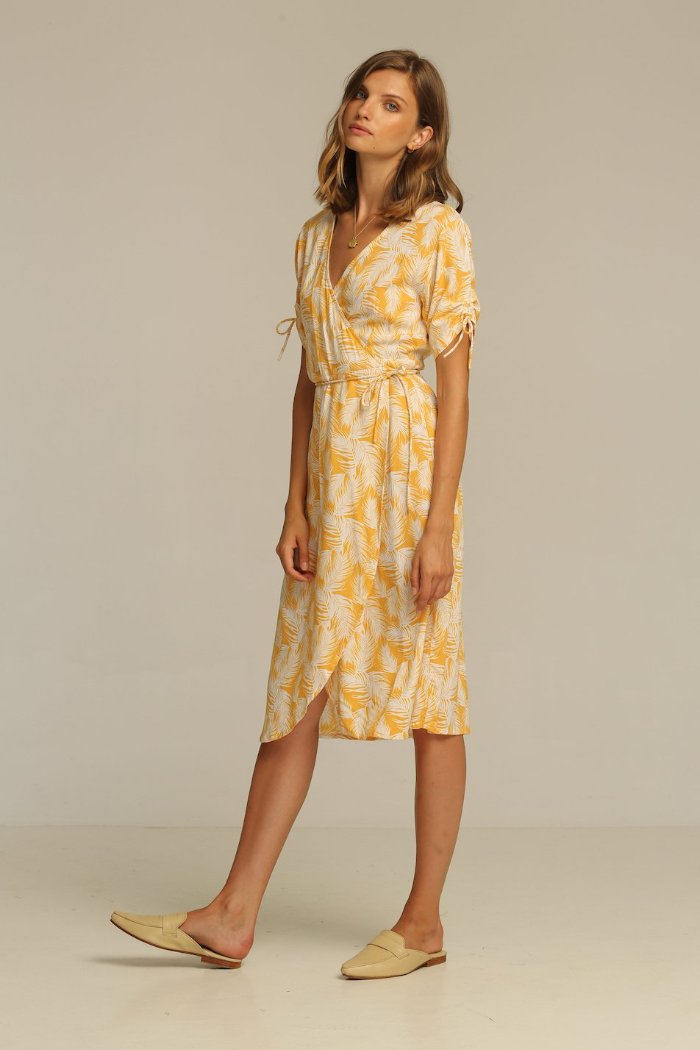 JOSEY MIDI DRESS | PIPE AND ROW Wrap Dress Honey Palm