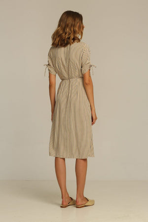 Rue Stiic Josey Midi wrap Dress | PIPE AND ROW Sand stripe cocktail dress
