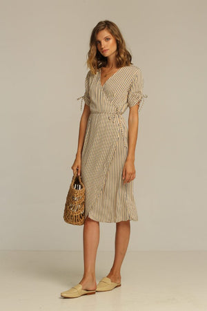 Rue Stiic Josey Midi wrap Dress | PIPE AND ROW Seattle Boutique Sand Stripe