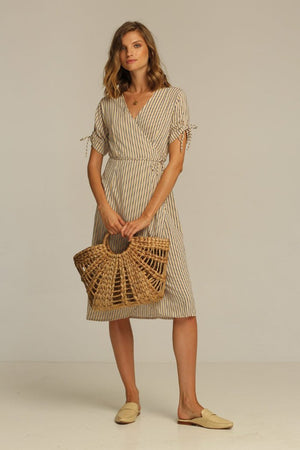 Rue Stiic Josey Midi wrap Dress | PIPE AND ROW sand stripe wrap