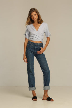 Rue Stiic Imperial wrap top in bluebell | PIPE AND ROW