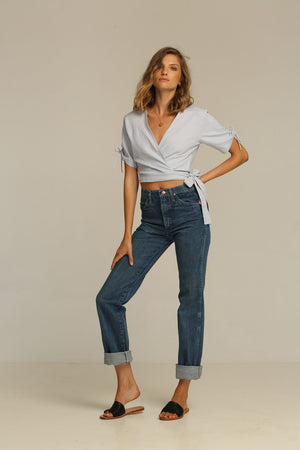 Rue Stiic Imperial wrap top linen bluebell | PIPE AND ROW