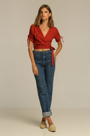 linen Rue Stiic Imperial Wrap top canyon red