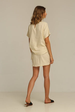 Rue Stiic linen Casa tee blush sand linen tee | pipe and row