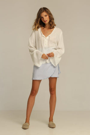 Rue Stiic Calexico wrap linen raw hem skirt bluebell | Pipe and Row