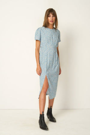 Rue Stiic Colorado Daisy print Salt Lake Midi Dress powder blue, open back, short sleeve | pipe and row