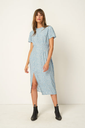 Rue Stiic Colorado Daisy print Salt Lake Midi Dress powder blue | pipe and row