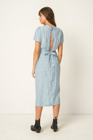 Rue Stiic Colorado Daisy print Salt Lake Midi Dress powder blue open back | pipe and row