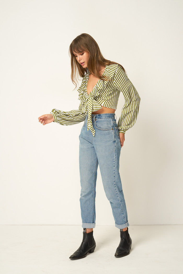 Rue Stiic Cadence ruffle tie top sage copperfield green stripe | Pipe and Row