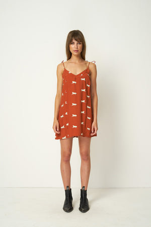 Rue Stiic Clementine mini dress burnt orange jaguar print | Pipe and Row