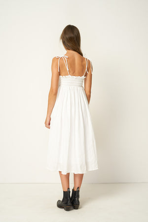 Rue Stiic Fontana ethereal midi dress white pebbled stripe | Pipe and Row