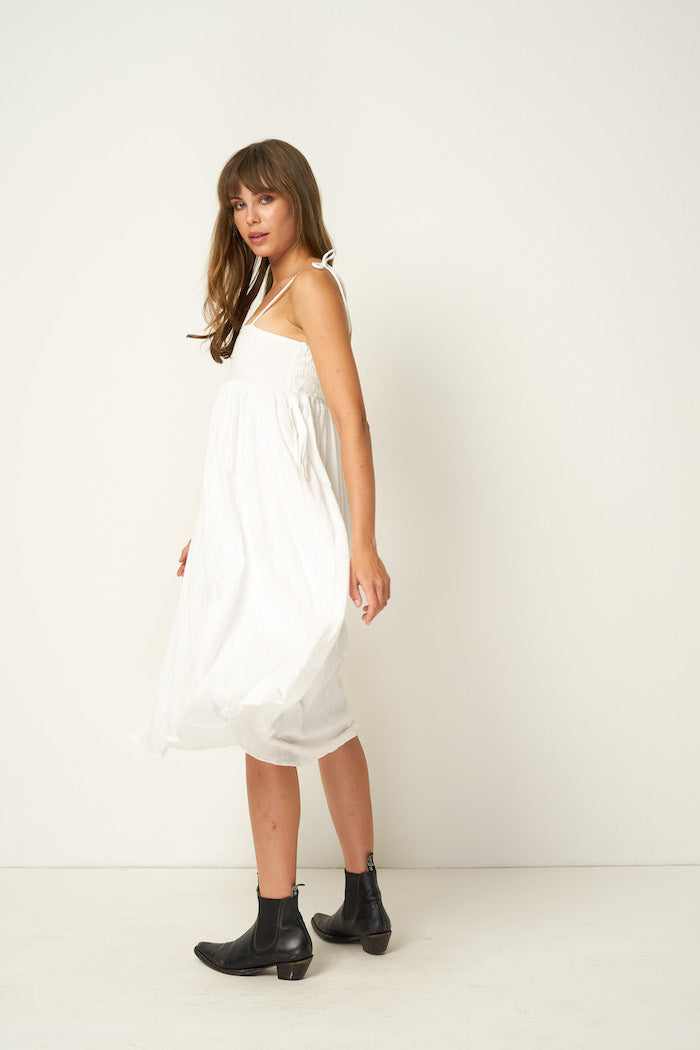 Rue Stiic Fontana ethereal flowy midi dress white pebbled stripe | Pipe and Row
