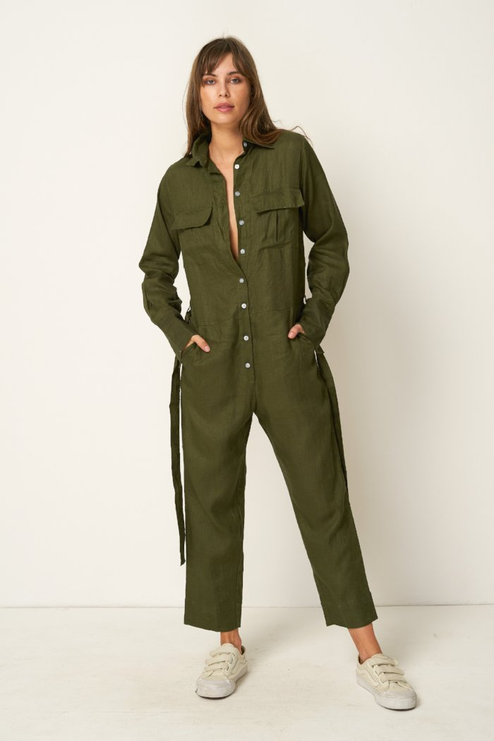 Rue Stiic Preston utility jumpsuit in khaki olive green | pipe and row