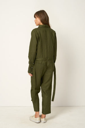 Rue Stiic Preston utility jumpsuit in khaki olive green | pipe and row seattle