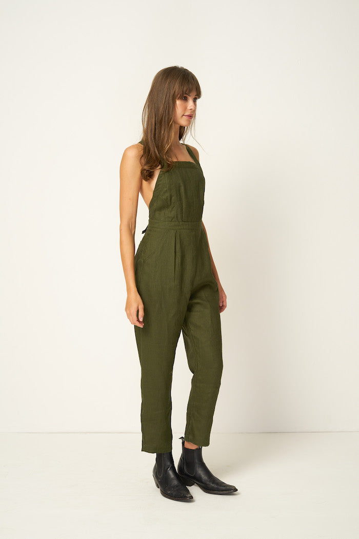 Rue Stiic Hattie linen jumpsuit overalls khaki mustang green | Pipe and Row