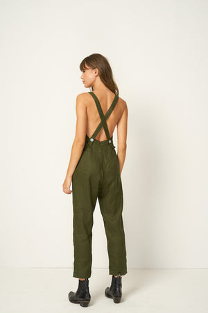 Rue Stiic Hattie linen criss cross back jumpsuit overalls khaki mustang green | Pipe and Row