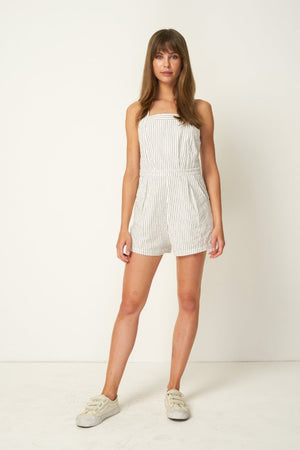Rue Stiic linen Nora Romper, shorts, Salt Lake Stripe white | Pipe and Row Boutique