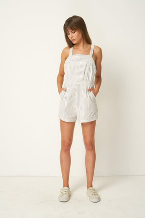 Rue Stiic linen Nora Romper, overalls, shorts, Salt Lake Stripe | Pipe and Row Boutique