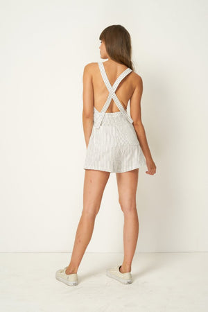 Rue Stiic linen Nora Romper, shorts, Salt Lake Stripe, criss cross | Pipe and Row Boutique