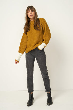 Rue Stiic Sienna knit sweater gold white color block sleeve detail | pipe and row