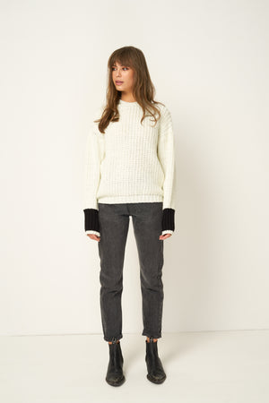 Rue Stiic Sienna knit sweater off white black color block sleeve detail | pipe and row