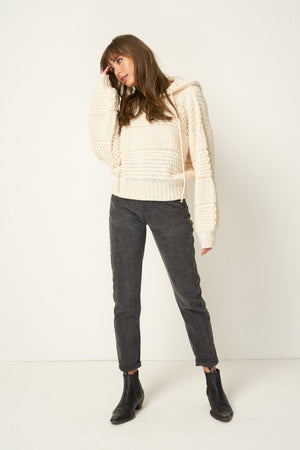 Rue Stiic Amelia knit hoodie sweater in cream | pipe and row