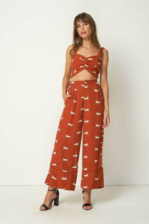 Rue Stiic Wyatt high waist wide leg crop Pants nevada jaguar rust | pipe and row