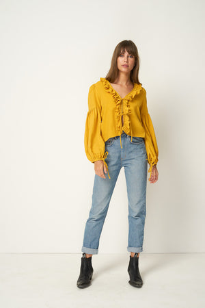 Rue Stiic Tahoe ruffle tie shirt in sahara mustard yellow Pipe and Row