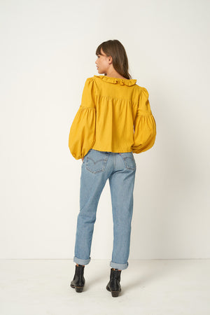 Rue Stiic Tahoe ruffle crop tie shirt in sahara mustard yellow Pipe and Row