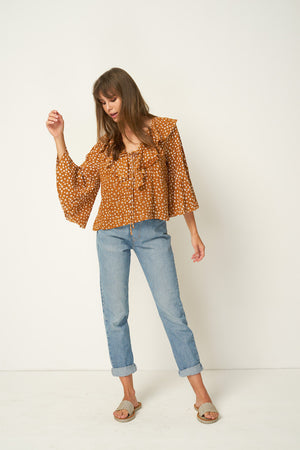 Rue Stiic Clark Blouse in Colorado daisy desert sun tan brown ethically made | pipe and row