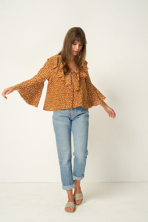Rue Stiic Clark Blouse in Colorado daisy desert sun tan ethically made | pipe and row