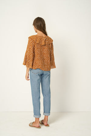 Rue Stiic Clark Blouse in Colorado daisy desert sun brown ethically made | pipe and row