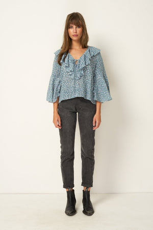 Rue Stiic Clark Blouse in Colorado daisy powder blue ethically made | pipe and row