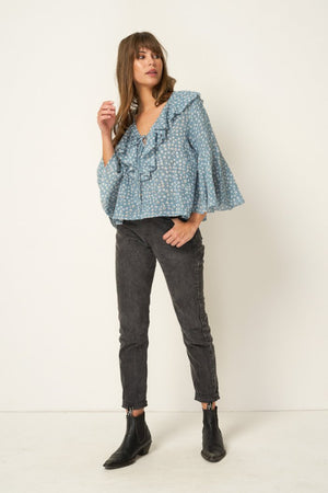 Rue Stiic Clark top Blouse in Colorado daisy powder blue ethically made | pipe and row