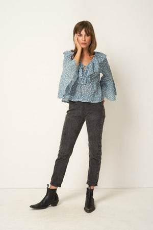 Rue Stiic Clark Blouse in gauze cotton Colorado daisy powder blue ethically made | pipe and row