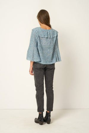Rue Stiic Clark Blouse in gauze cotton cropped, ruffled, Colorado daisy powder blue ethically made | pipe and row