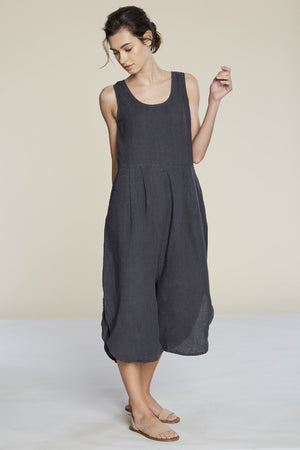 Filosofia Sam linen charcoal ink oversized jumpsuit | PIPE AND ROW