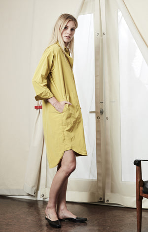 Shirt button up dress mustard achro | pipe and row